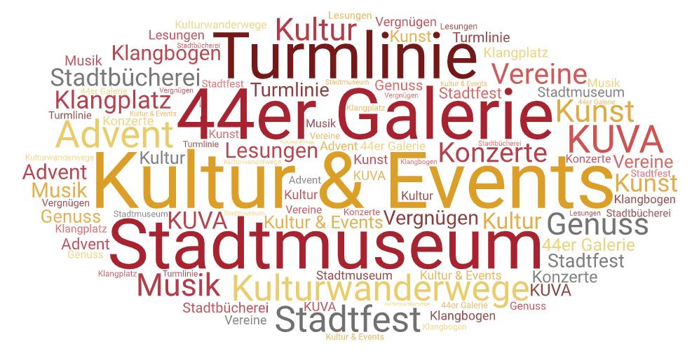 Wörterwolke zum Thema Kultur & Events in gelb-orange-rot-grau