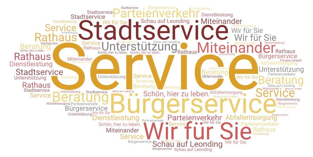Wörterwolke in rot-gelb-orange-grau zum Thema Service