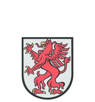 Wappenform mit roten Drachen