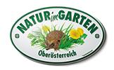 Logo Natur im Garten mit einem Igel in einer Wiese mit einem Löwenzahn