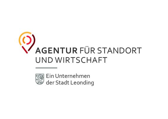 Schriftzug Agentur für Standort und Wirtschaft, Ein Unternehmen der Stadt Leonding, mit bunter Stecknadel