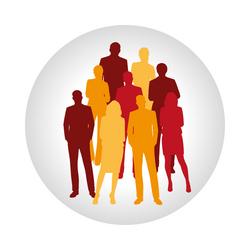 Kreis mit Gruppe von stehenden Menschen in Rot, Gelb, Orange