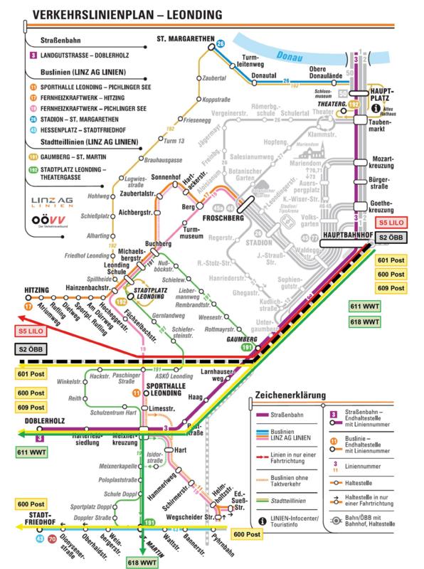 Plan mit den verschiedenen Linien innerhalb Leondings