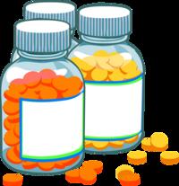 3 Pillendosen, 1 mit gelben Pillen und 1 mit orangen Pillen gefüllt