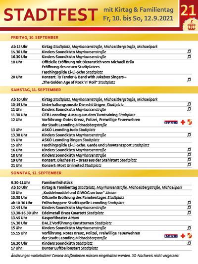 Programm Stadtfest 2021