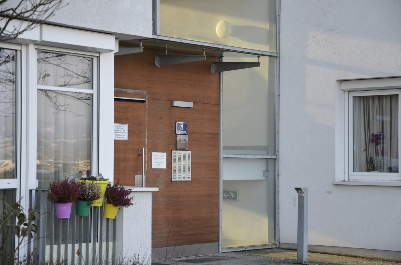 Eingang des Betreubaren Wohnen in der Gertrud-Fussenegger-Straße