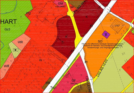 Flächenwidmungsplan mit roten, dunkelroten, gelben, weißen und grünen Flächen