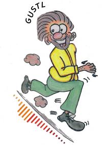"""Comic-Herr läuft auf einer Soundwave, bei seinem Kopf steht sein Name """"GUSTL"""""""
