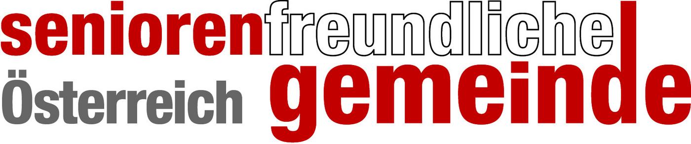Schriftzug rot - weiß - grau - rot: seniorenfreundliche Österreich gemeinde