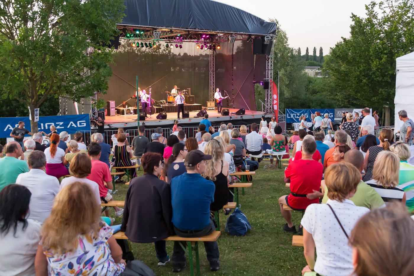 Leute auf Bierbänken in einer Wiese sitzend, vorne Bühne mit Lichteffekten